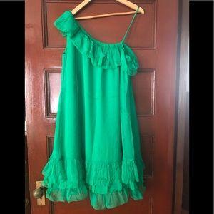 NWT DVF Green Malachite Silk one shoulder dress 12
